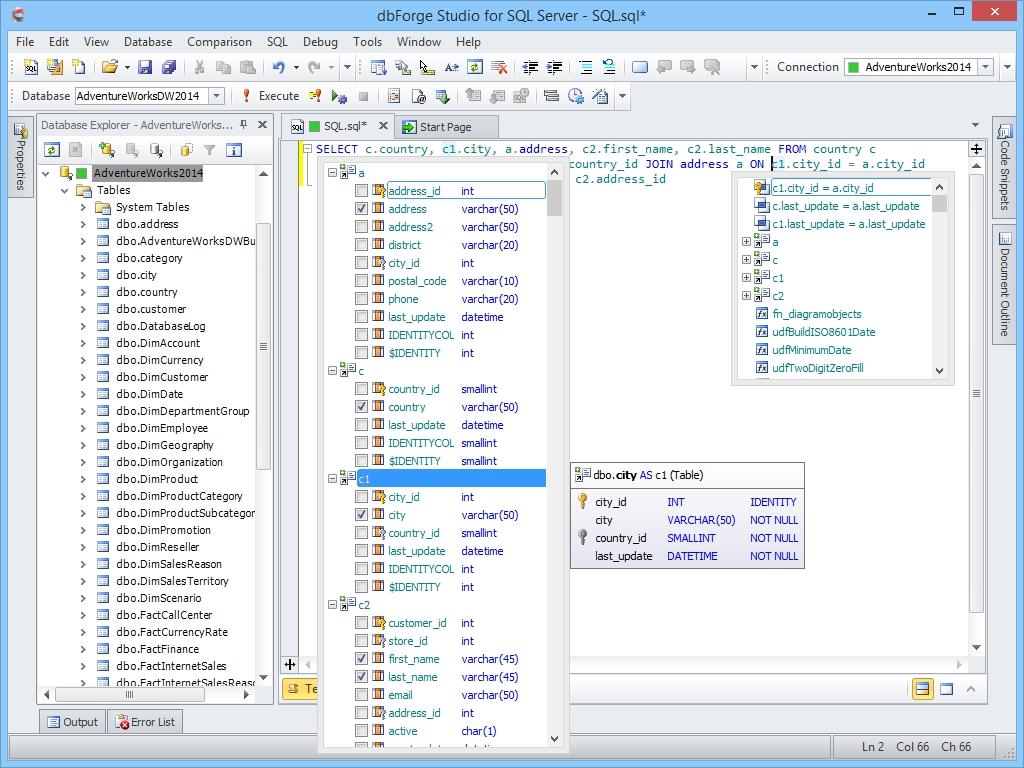 dbForge Studio for SQL Server预览: