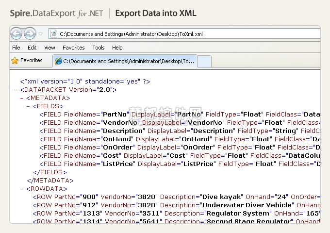 Spire.DataExport for .NET 预览:Spire.DataExport for .NET效果预览