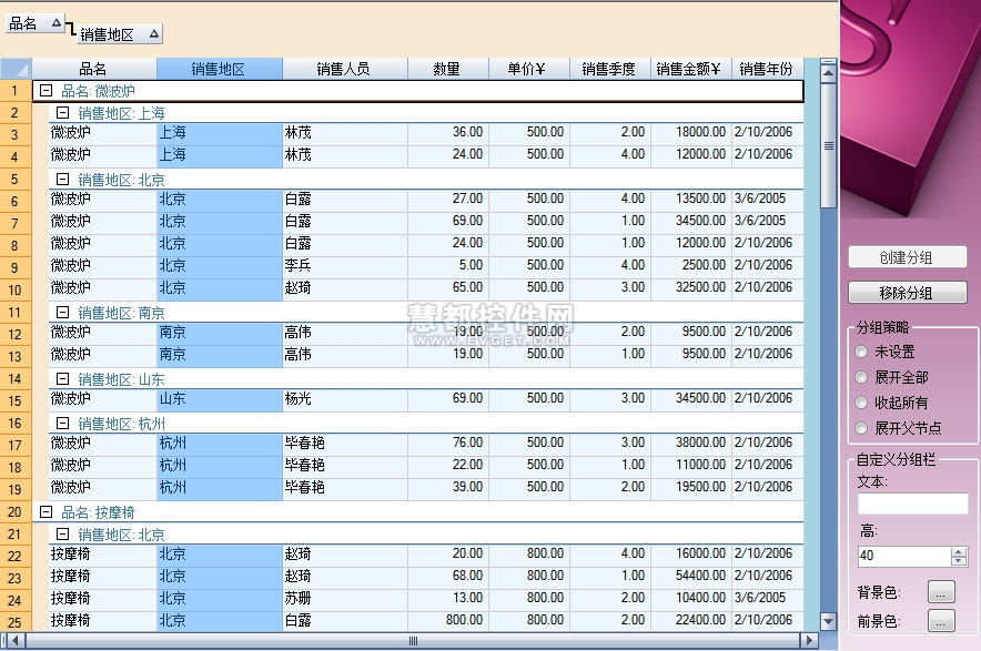 Spread for WinForms预览:Outlook样式分组