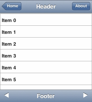 TMS IntraWeb iPhone Controls Pack预览:header and fooder