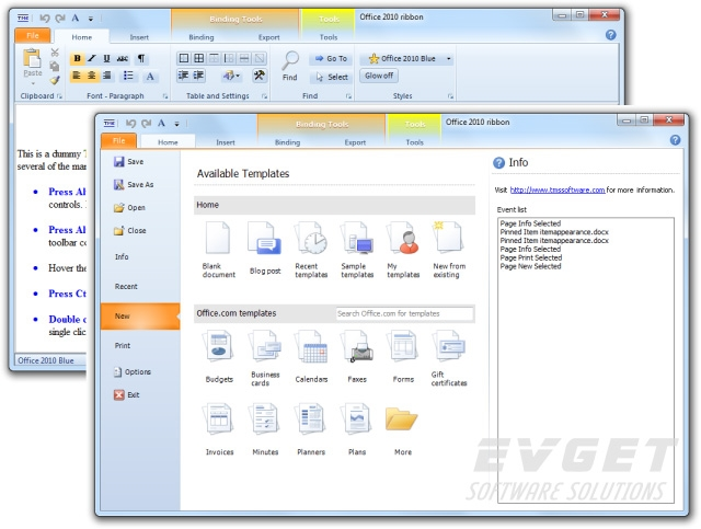 TMS Advanced Toolbars & Menus预览:Office 2010 ribbon style