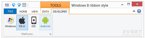 TMS Advanced Toolbars & Menus预览:Office 2013 & Windows 8 ribbon style