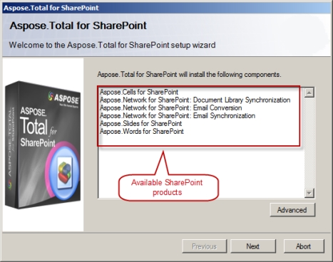 Aspose.Total for SharePoint预览:Aspose.Total for SharePoint installation