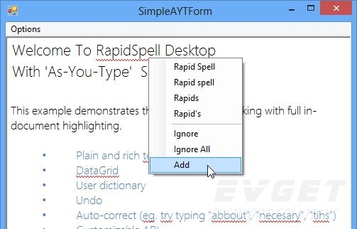 RapidSpell Desktop .NET预览: