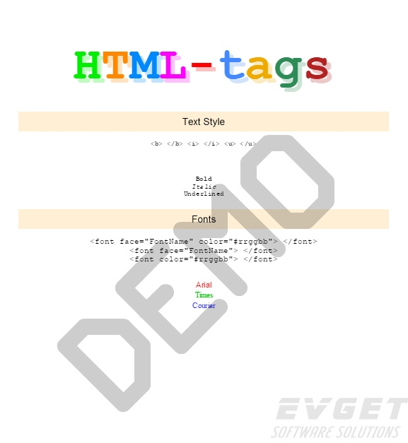 Stimulsoft Reports.Ultimate预览:HTML Tags