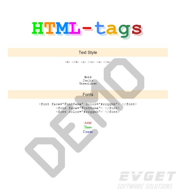 Stimulsoft Ultimate预览:HTML Tags