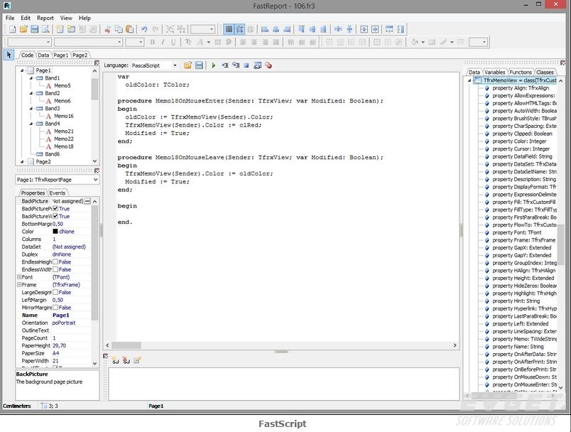 FastReport VCL预览:FastScript