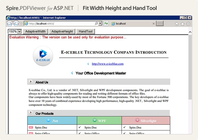 Spire.PDFViewer for ASP.NET预览:fit width height and hand tool