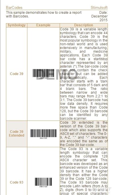 Stimulsoft Reports.Net预览:Bar-Codes