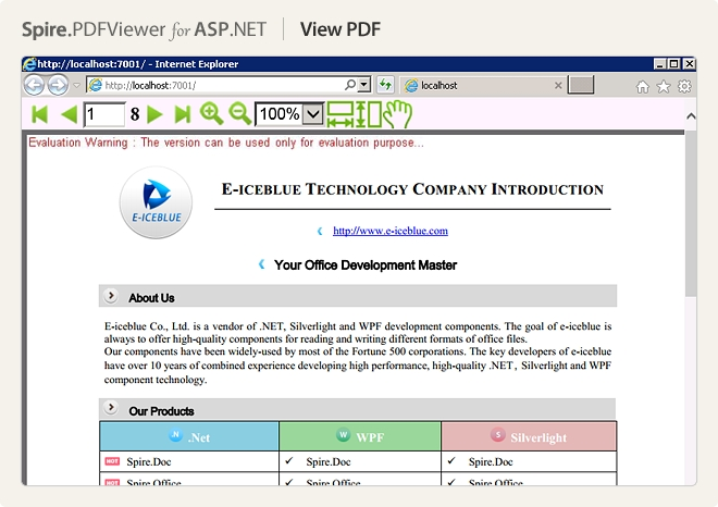 Spire.PDFViewer for ASP.NET预览:VIEW PDF