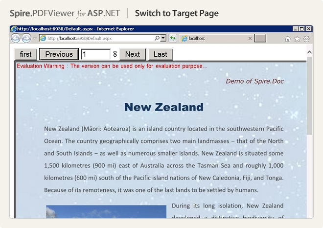 Spire.PDFViewer for ASP.NET预览:switch to target page