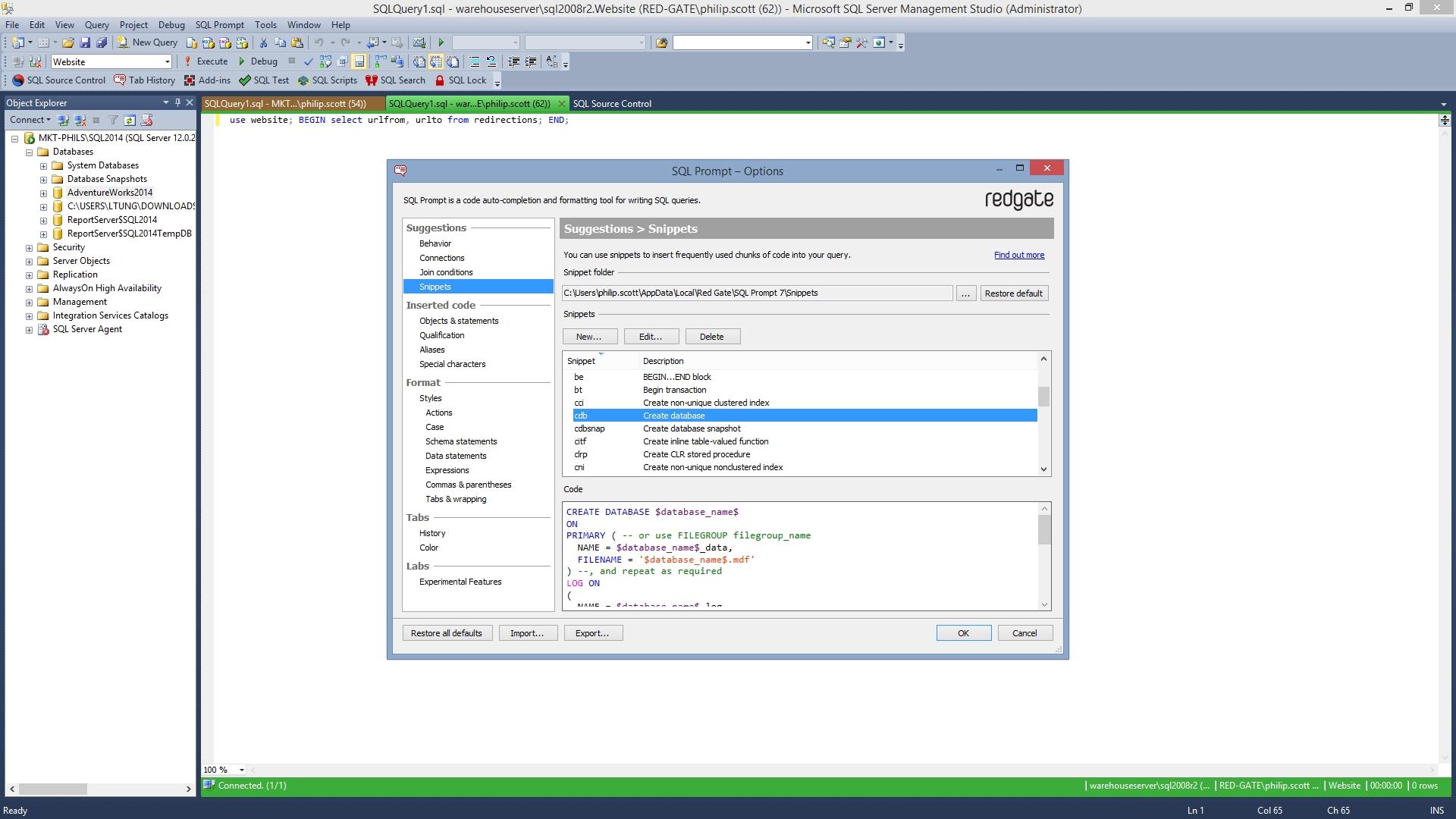 SQL Prompt预览:分享您的片段