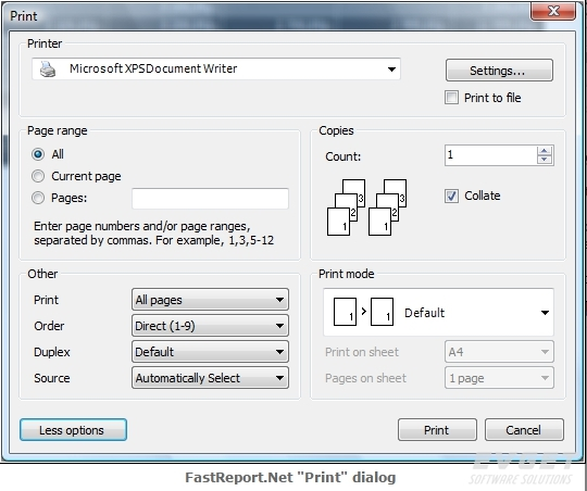 FastReport.Net预览:print dialog