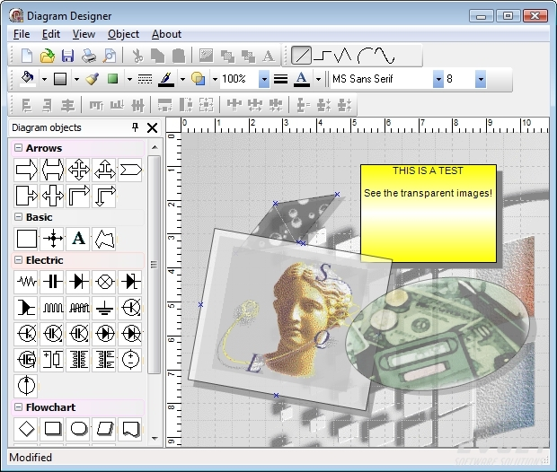 TMS Diagram Studio预览:Example of block image and rotation