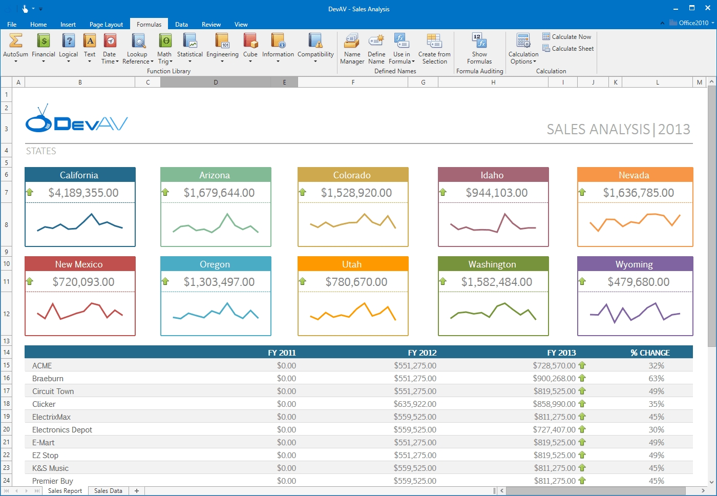 DevExpress WPF Controls预览:wpf-spreadsheet-control