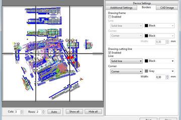 ABViewer预览:(多页打印)在几张较小尺寸的纸张上打印大幅面图纸。