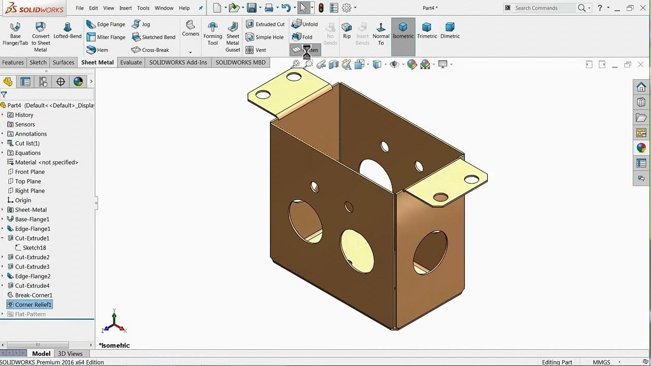 【钣金教程】SolidWorks绘制钣金图纸操作教程