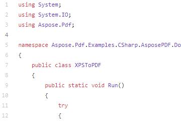 Aspose.PDF for .NET代码示例三十七:XPSToPDF.cs
