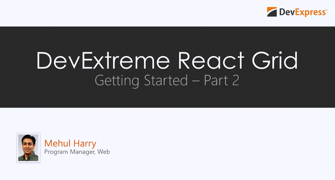 DevExtreme React Grid教程视频:入门指南 - Part 2