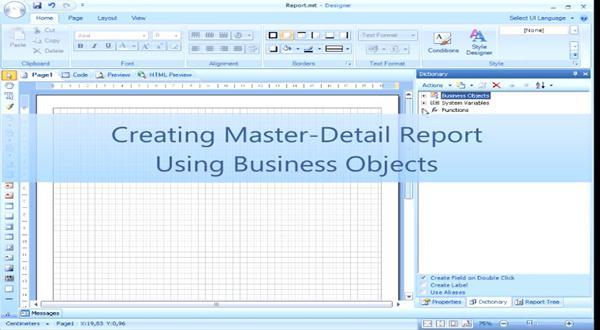 业务报表视频:使用Business Object创建主从复合结构的报表