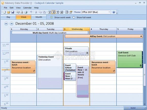 VC界面库Xtreme Toolkit Pro示例大全之Calendar