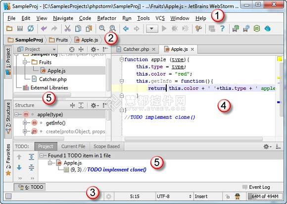 JavaScript开发工具WebStorm教程:用户界面简介