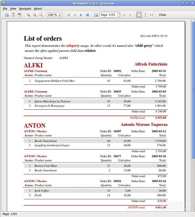 报表控件NCreport教程:子查询系统设计
