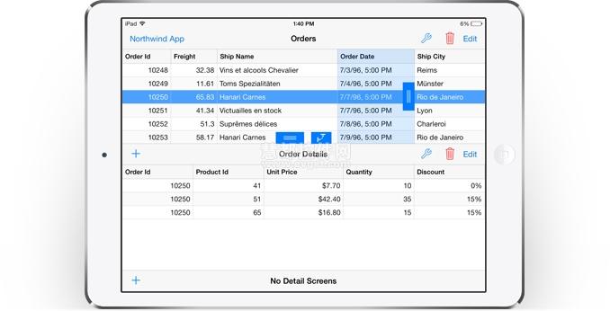 DataExplorer DevExpress iOS7