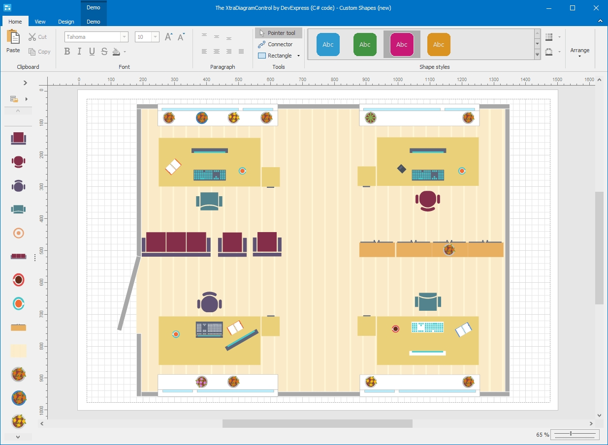 Visio-inspired Diagram Control for WinForms and WPF