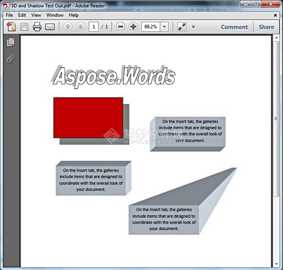 Aspose.Words,文档处理控件Aspose.Words 13.2.0发布,3D图形和阴影效果