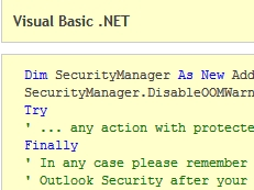 Security Manager for Microsoft Outlook