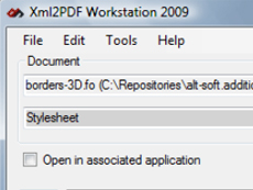 Xml2PDF Workstation用来将XSL-FO(或者 XSL+XSLT),SVG,HTML和Word(WordML 2003,DocX,Word 2007 Xml,Doc)文件转换为PDF,XPS,TIFF。