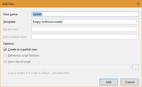 使用Ajax更新ASP.Net MVC项目中的报表对象