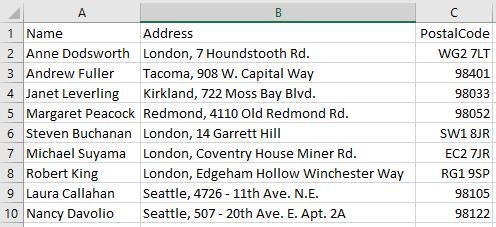 如何从地址列表中打印标签