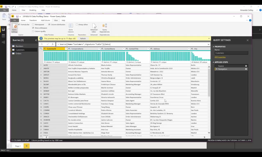 Power BI Desktop10月功能演示(四):数据准备