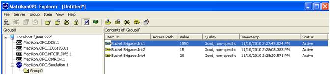 MatrikonOPC 图3-在MatrikonOPC Server for Simulation and Testing中验证值更改