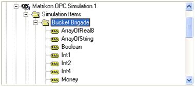 MatrikonOPC Server for Simulation and Testing中的仿真数据点