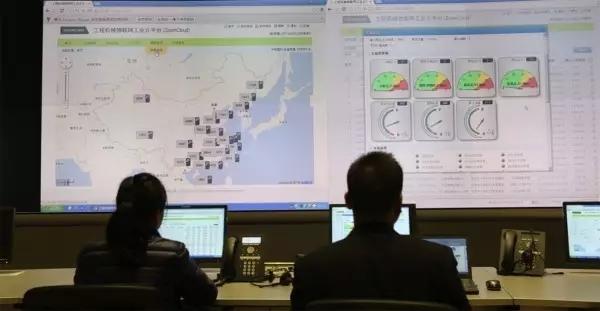中联重科工程机械物联网云平台监控室图