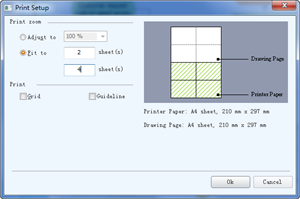 在多张纸上打印大流程图