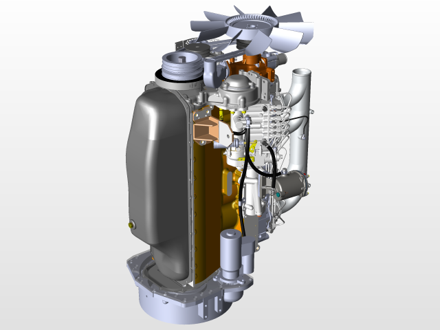 用SolidWorks设计的柴油发动机MMZ D-260 7S.750