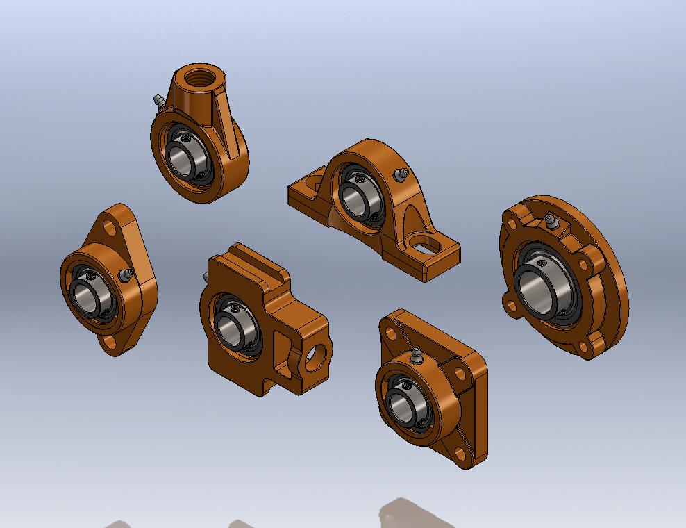 用SolidWorks设计的一系列参数枕式轴承