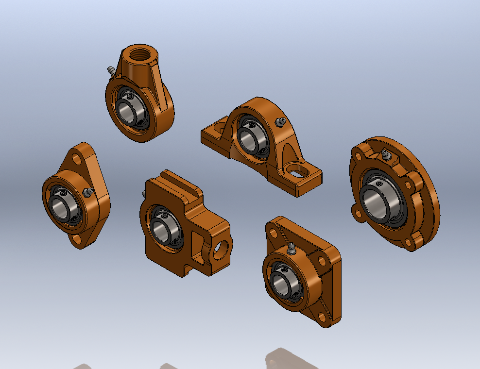 SolidWorks 3D模型分享:参数枕式轴承