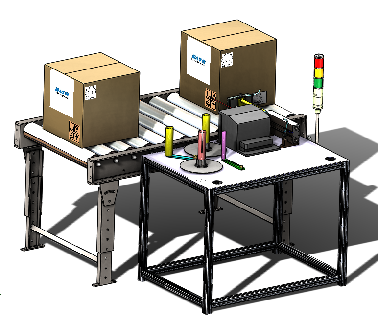 用SolidWorks设计带输送机的贴标系统模型
