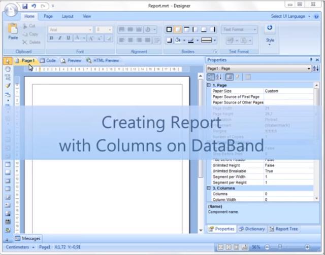 Stimulsoft视频教程:使用数据带上的列创建报表