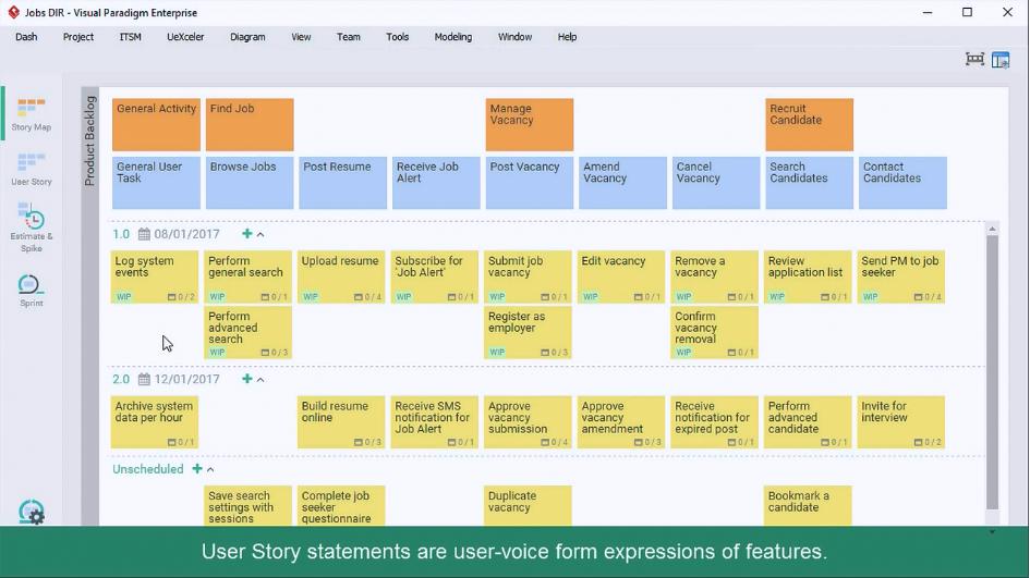 Visual Paradigm敏捷用户故事映射工具:如何通过编写故事陈述从Epic生成用户故事