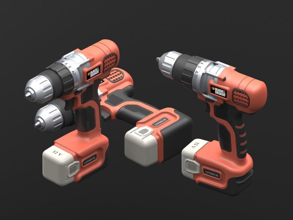 用SolidWorks设计的百得(black&decker)电钻模型
