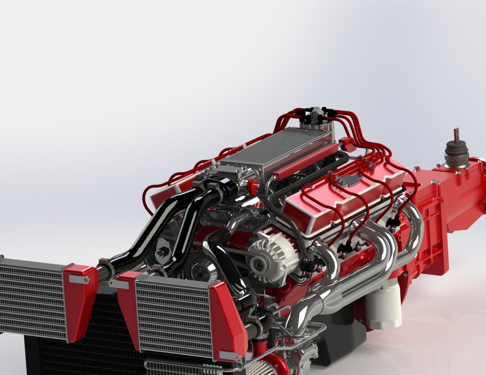 用SolidWorks设计V8 GM 350涡轮发动机模型