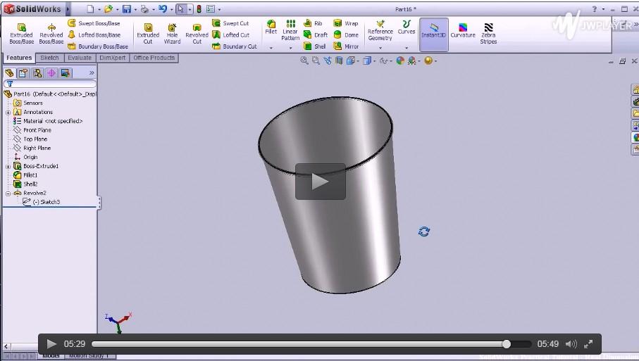 SolidWorks基础入门视频(三)-0.2L玻璃杯
