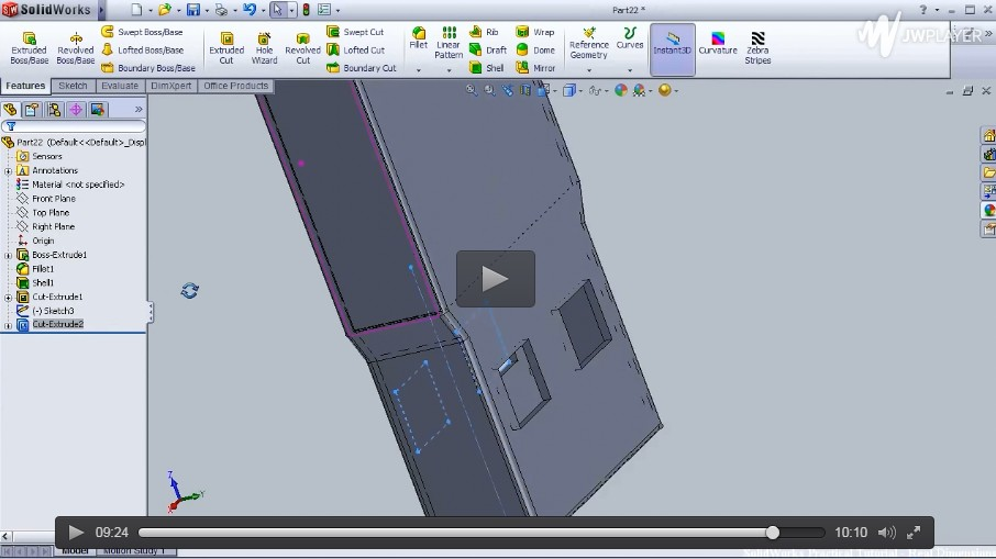 SolidWorks基础入门视频(四):设计一个餐盘,水勺,USB插口