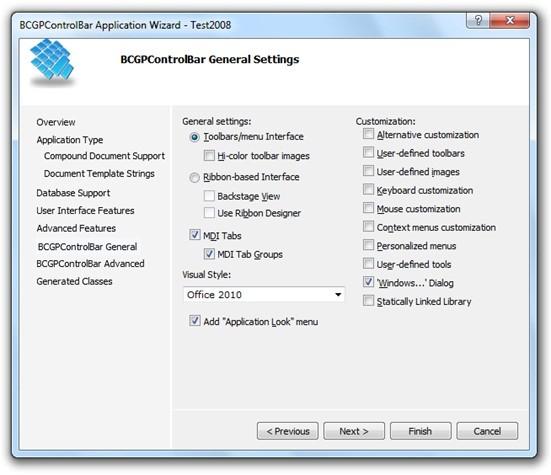 MFC界面开发工具BCGControlBar Pro for MFC帮助文档:适用于Visual C ++ 2005-2017的应用向导